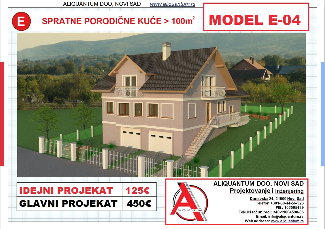 MODEL E-4, gotovi projekti vec od 50e, projekti, projektovanje, izrada projekata,  house design, house ideas, house plans, interior design plans, house designs, house