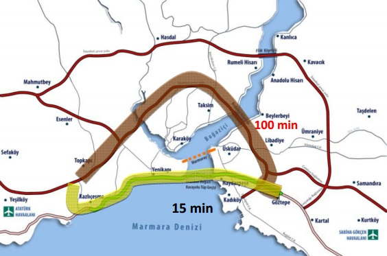 2 Tunel Eurazija - prikaz tunela na mapi sa oznakom vremena kretanja
