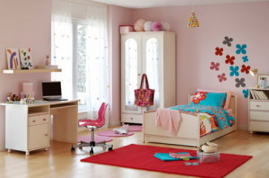 Pink-Wall-Paint-Colors-Scheme-and-Modern-Furniture-Sets-in-Small-Kids-Bedroom-Interior-Decorating-Design-Ideas
